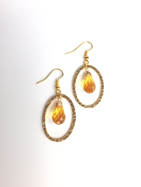Finished pair of Citrine Yellow Shimmery Earrings. Aren't they adorable?