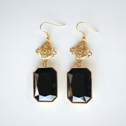 jet black swarovski drop earrings copy