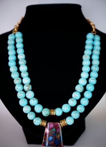 double strand blue magnesite necklace