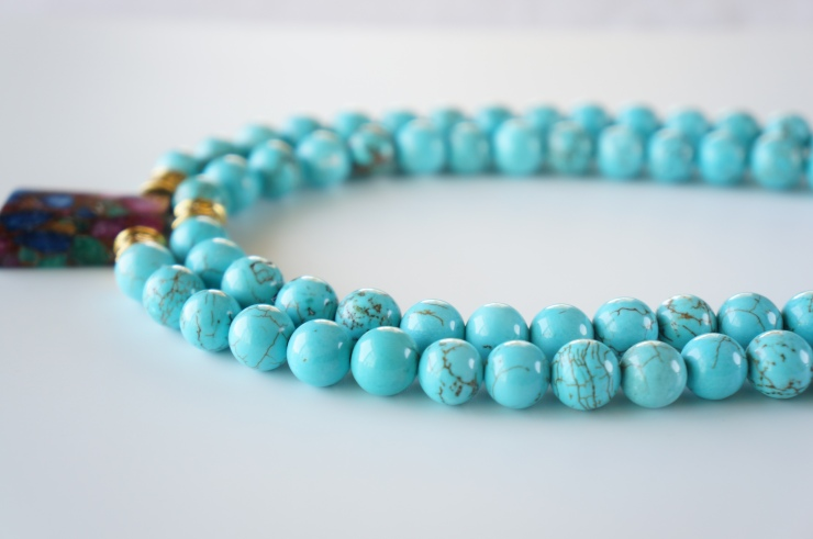 multi-strand blue magnesite beaded necklace