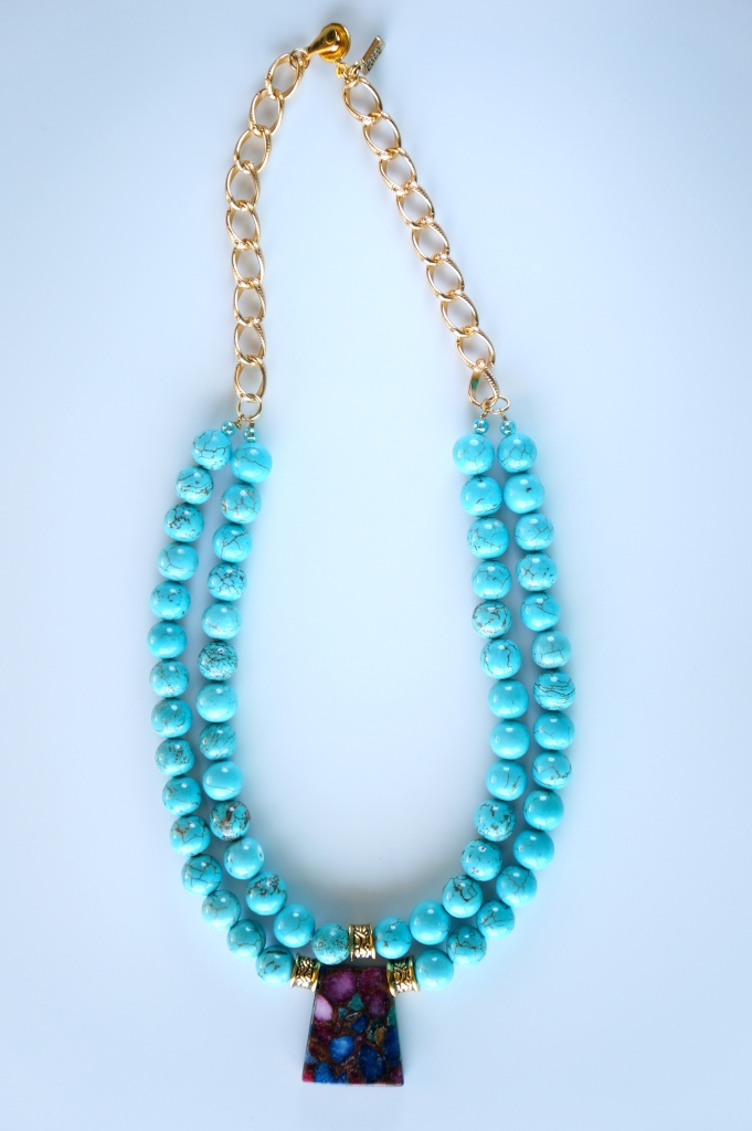 mixed agate blue necklace
