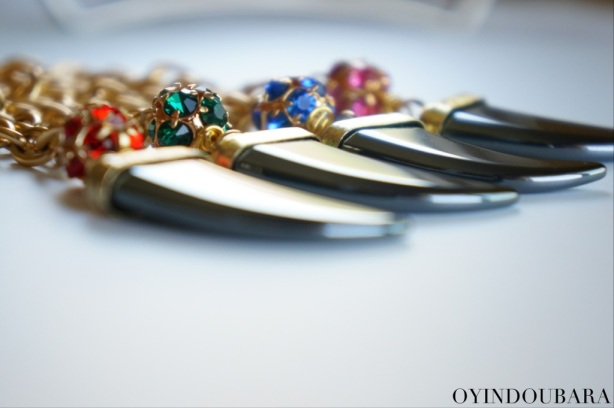 Italian Horn Pendant Necklace by OYINDOUBARA