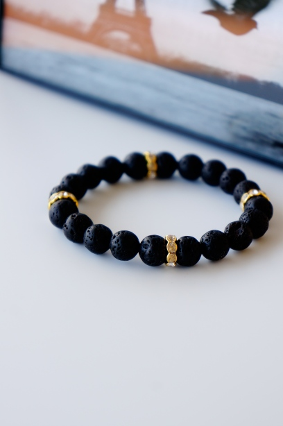 Black lava rock beaded bracelet