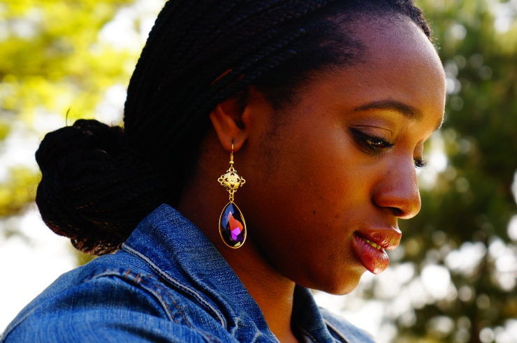 Purple Swarovski Drop Earrings