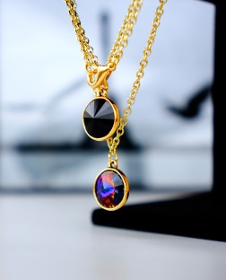 black and gold pendant necklace oyindoubara