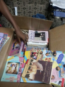 oyindoubara donates children's books for ghana with books for africa and utopia wish list