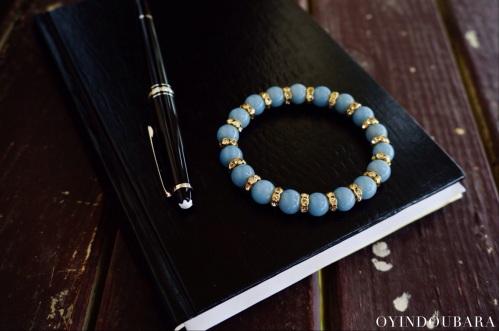 mont blanc pen with blue angelite gemstone bracelet oyindoubara
