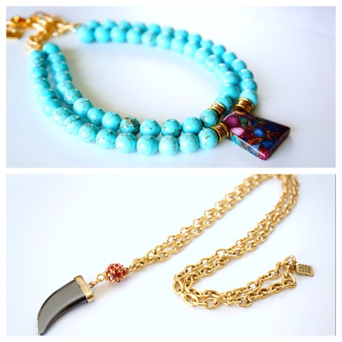 blue and gold necklace oyindoubara