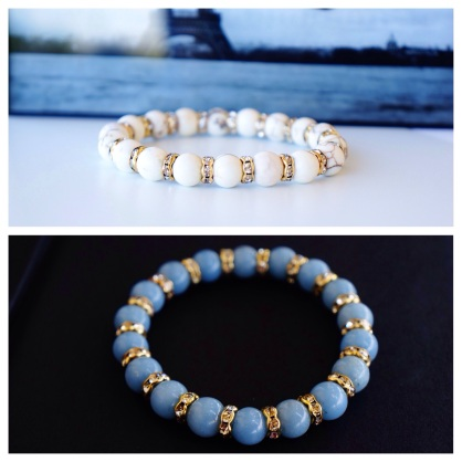 angelite and magnesite beads bracelet oyindoubara