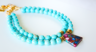 blue magnesite bead necklace oyindoubara jewelry