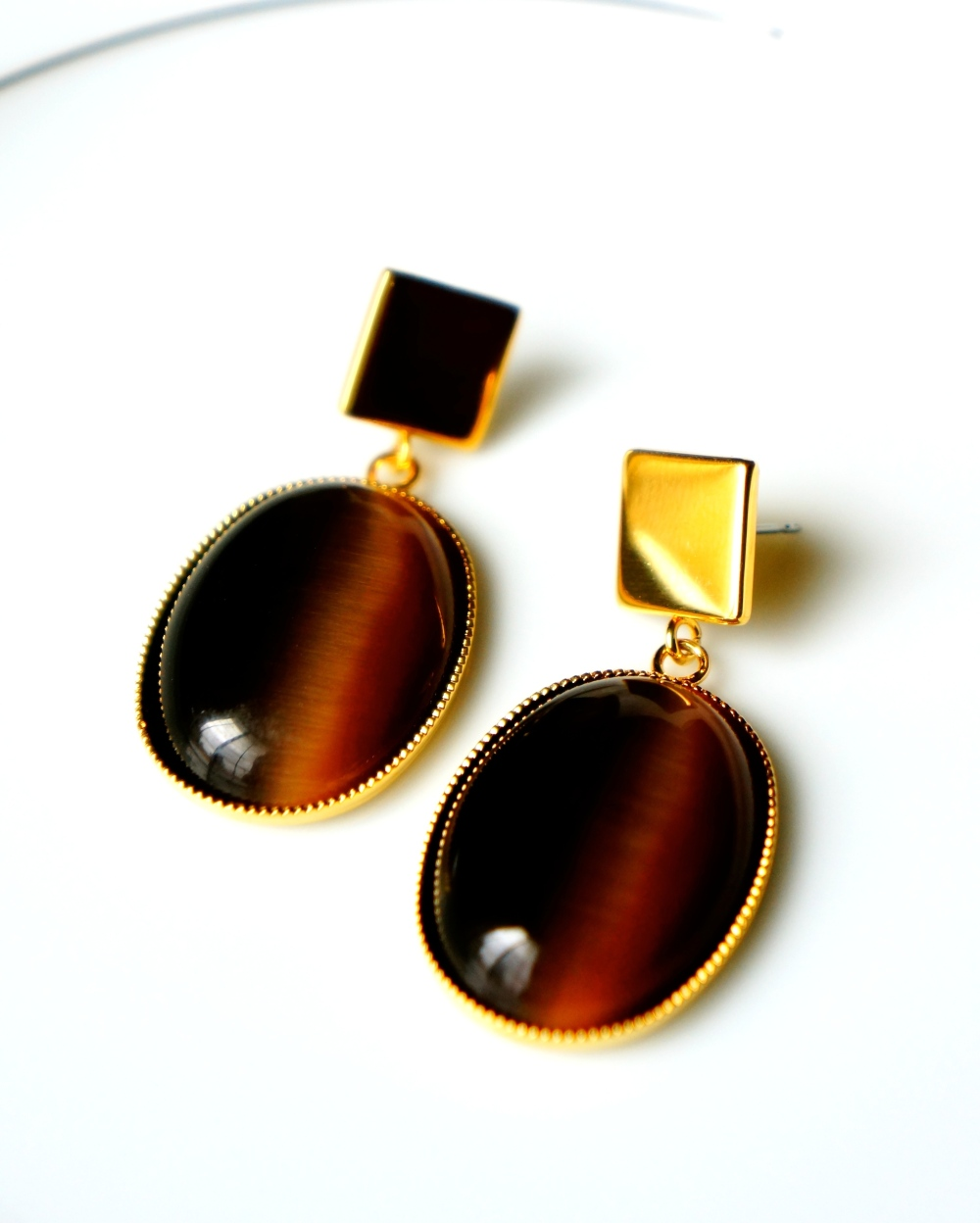 Cat Eye Drop Earrings (Brown) oyindoubara