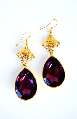 oyindoubara purple grace drop earrings