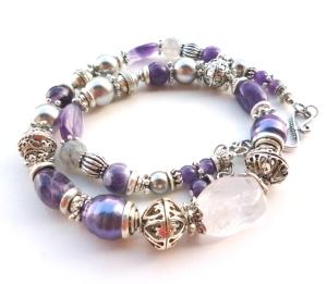 Purple Gemstone Necklace, Amethyst Pearl and quartz mixed media necklace, handmade gemstone necklace, big skies jewellery
