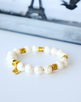 white beaded bracelet oyindoubara magnesite jewelry