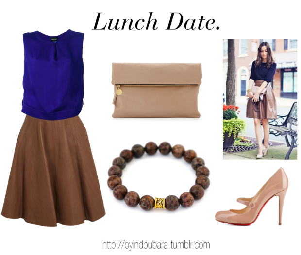 lunch date outfit idea with oyindoubara brown beaded bracelet