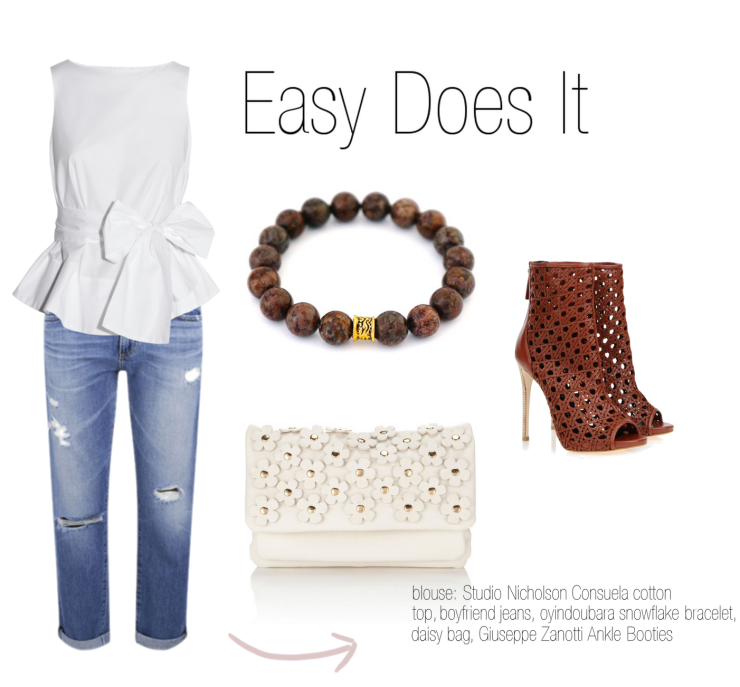 oyindoubara snowflake jasper gemstone beaded bracelet. boy friend jeans outfit ideas